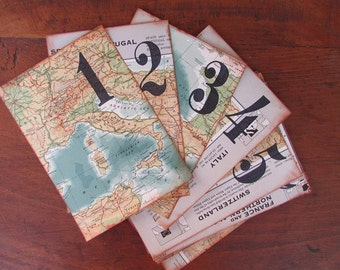 Map Table Number Vintage Travel Theme Wedding