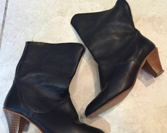 Vintage 80's Black Leather Slouchy Ankle Boots 7