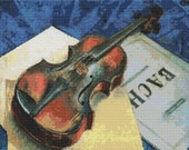 A Still Life With Violin by Kuzma Petrov Vodkin - Counted Cross Stitch KIT