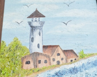Small Primative Oil Lighthouse Painting by Tony