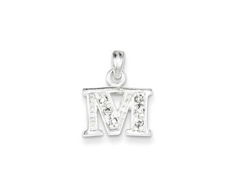 Sterling Silver CZ Initial M Pendant