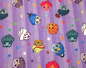 Adventure Time Cupcakes 95/5 Polyester/Lycra Custom knit fabric by the yard