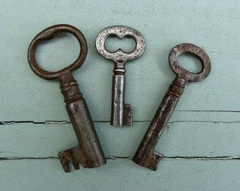 3 Genuine Old Rustic Skeleton Keys