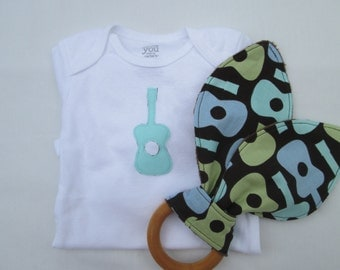 Guitar Baby Gift Set- guitar teether, guitar bodysuit,Baby Onesie and Organic Maple Teether, Ready to Ship, rock and roll baby