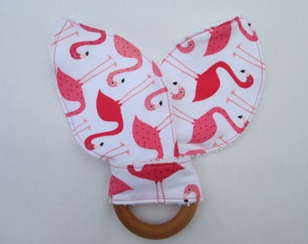 Flamingo Organic Maple Teether, flamingo teether, ready to ship,