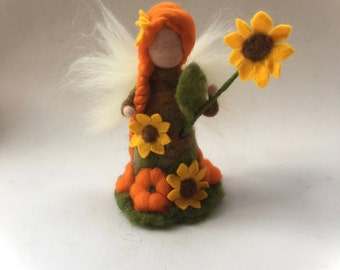 Late Summer Fairy.Waldorf.Needle-felted. Waldorf. Summer.Autumn.Pumpkin.Toadstool. Seasonal.Autumnfairy.Maiden felted.Autumn-Maiden.