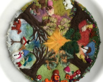 XXL:4 Season circle, Picture,tapestry,Wool painting,Wet felted,Needle Felted. Waldorf