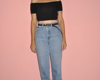 Vintage 80s High Rise Cropped Frayed Faded Lee Mom Jeans 30 M L