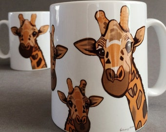Giraffe Mug. A family of inquisitive giraffes on a white mug. Gifts for giraffe lovers