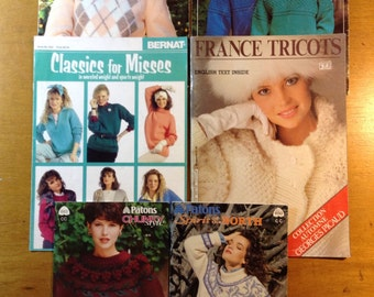 Bulky Sweater Knit Patterns, lot of 6 publications
