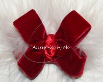 Velvet Hair Bow, Red Christmas Hair Bow, Red Velvet White Marabou Feathers Bow Clip, Baby Infant Toddler Dress Up, Flower Girl Party Pageant