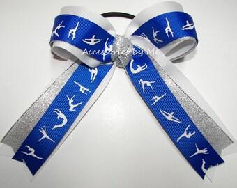 Gymnastics Bow, Sparkly Gymnastics Blue White Silver Bows, Dance Lyrical School Gym Hair Bow, Discount Wholesale Gymnastic Ribbon, Cheap Lot