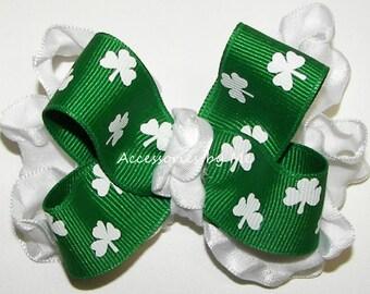Shamrock Hair Bow, Green White Ruffle Clip, Baby Bow Head Band, Toddler Bow Barrette, Infant Irish Wedding Headband, St. Patrick's Hair Band