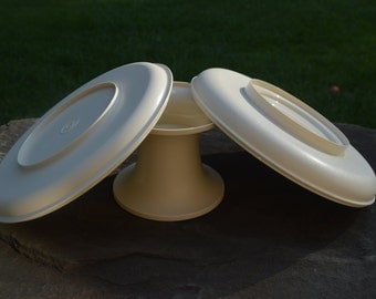 Vintage Tupperware Deep & Shallow Dishes with Pedestal - 1531, 1532, 1533