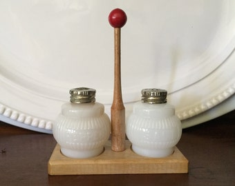 1930's Art Deco Milk Glass Salt and Pepper Shakers with Wood Caddy