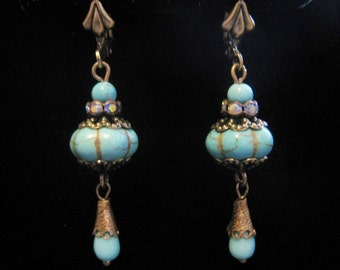 Victorian Vintage Style Reconstructed Flower Turquoise Bead Teardrop Dangle Earrings Antique Brass AB Rhinestone Lever Back