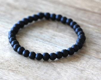 Men's Matte Black Beaded Bracelet