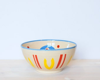 Handpainted bowl Boho bowl Ceramic and pottery Ceramics bowl Colorful bowl Serving bowl One of a kind bowl Pottery bowl Clay bowl Polka dots