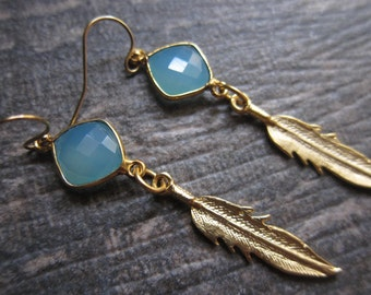 Feather Earrings,Metal Feather Earrings,Raw Stone Feather Earrings,Gold Feather Earrings,Raw stone Earrings,Tribal earrings,Feather Earrings