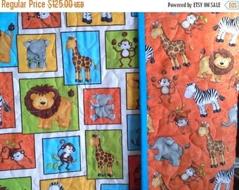 On Sale Monkey Mischief and Other Jungle Animals Crib or Toddler Blanket In Bright Gender Neutral Colors