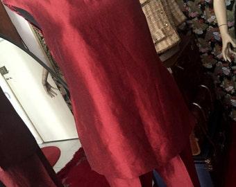 90s metallic burgundy linen pant suit