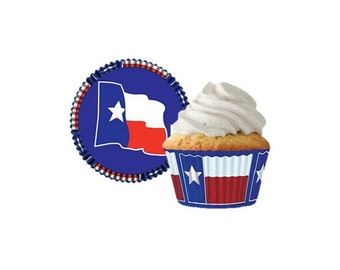 Texas State Cupcake Liners - Greaseproof - 32 Count - Baking Candy Making Party Supplies
