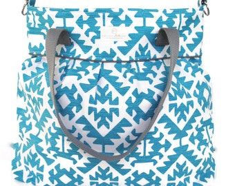 Turquoise Aztec Diaper Bag  - Stroller Bag - Bags and Purses - Baby Bag