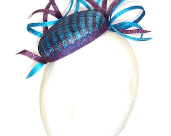 Turquoise and Violet Headpiece, Fascinator, Sinamay Hat