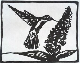 Hummingbird handmade woodcut print
