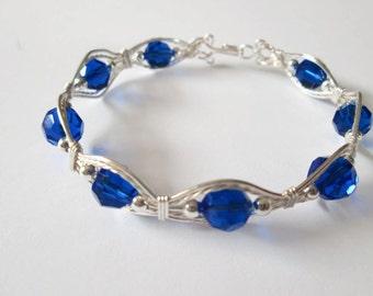 Bracelet, Swarovski Crystal, Swarovski Crystal Bracelet, Swarovski Crystal Jewelry, Crystal Bracelet, Silver Bracelet, Blue Crystal Bracelet