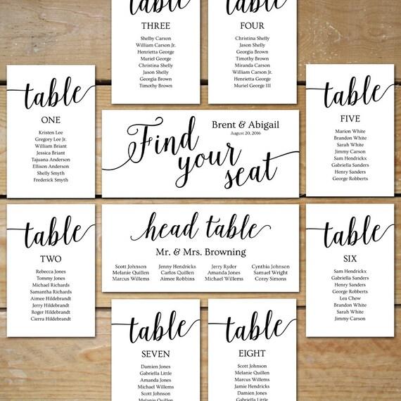 Printable Seating Chart Wedding Seating Chart Cards