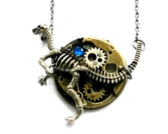 Steampunk Dinosaur Necklace clockwork dino jewelry Handmade Gift