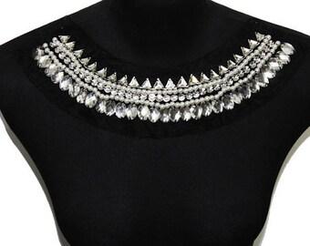 Rhinestones Beaded on Mesh Black Necklace Collar Yoke Applique
