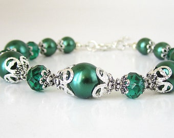 Emerald Pearl Bracelet, Green Bridesmaid Sets, Forest Wedding Jewellery, Pearl Bridal Sets, Autumn Weddings, Bridal Party Gift, Crystal Set