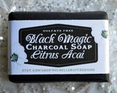 Black Magic Activated Charcoal Honey Soap Bar in Citrus Acai Scent Detoxifying Sulfate FreeCleanser