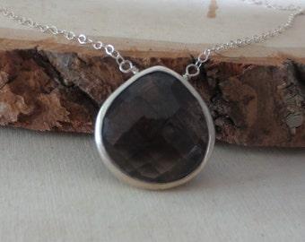 Smoky quartz necklace, , smoky quartz pendant necklace, smoky quartz silver necklace, tear drop smoky quartz necklace, quartz silver neckace