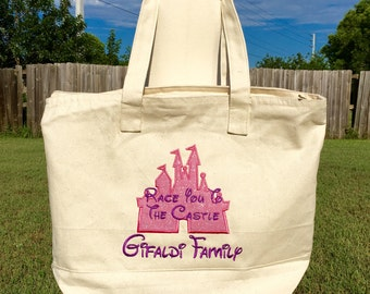 DISNEY RACE You To The CASTLE-Personalized Embroidered Tote with Zipper