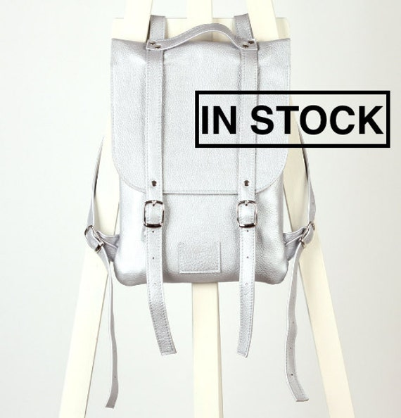 Aluminum colored leather backpack rucksack handmade/ To order / Leather backpack / Leather rucksack / Womens backpack / Christmas Gift