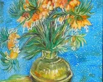 """Replica of Vincent Van Gogh's """"Fritillaries In A Copper Vase"""""""