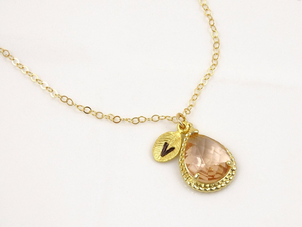 Peach necklace blush wedding jewelry champagne by for Jewelry for champagne wedding dress