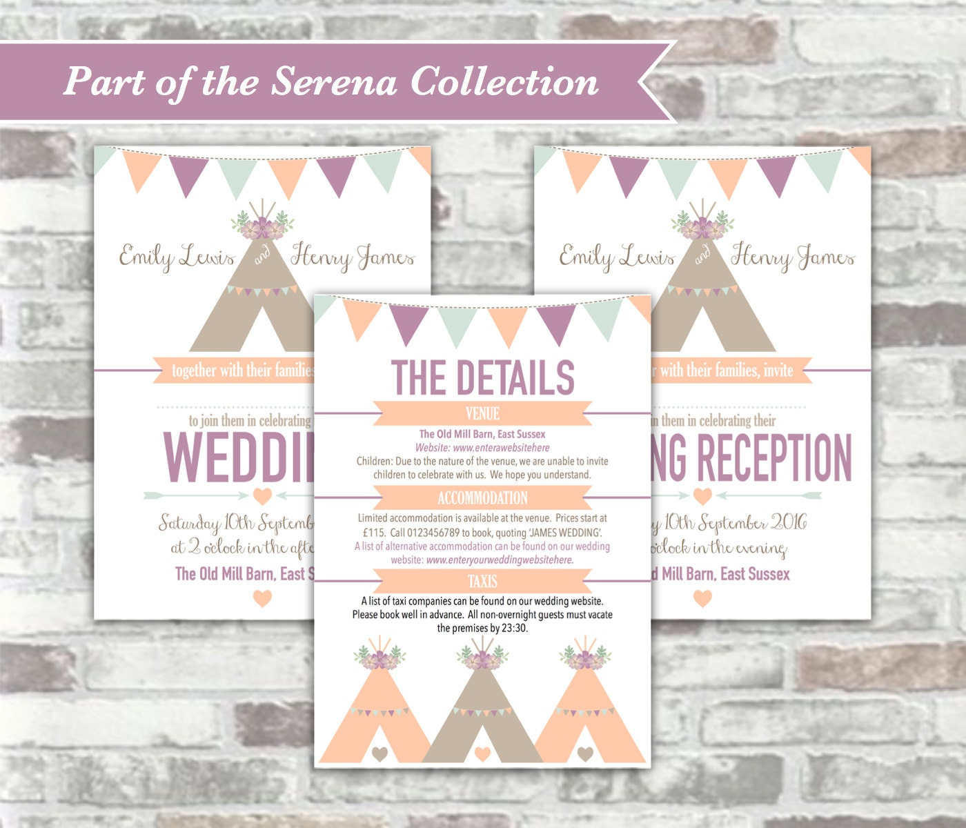 PRINTABLE Digital Files - Serena Collection - Personalised Tipi ...