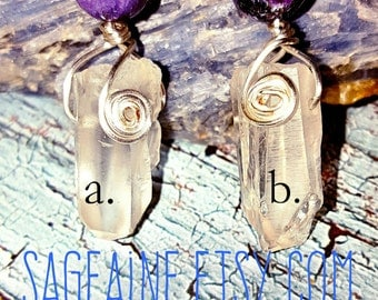 SageAine: Sugilite, Brazilian Quartz Crystal Amulets, Love Stone, Virgo, Light Bringer, Archangel Michael, Reiki Charged, Crystal Healing