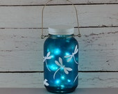 Dragonfly Mason jar lantern, hand painted, blue and white