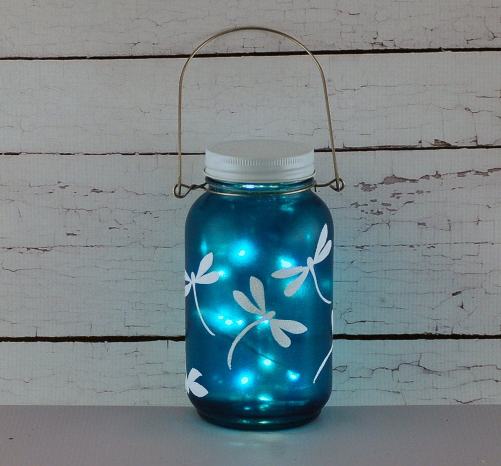 Dragonfly mason jar lantern hand painted blue and white - How do you make light blue ...