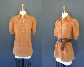 Swallow Song shirt | Vintage 1960's chambray popover blouse | 60's puff sleeve peasant tunic