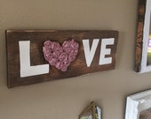 Rustic love sign wood farmhouse cottage shabby chic