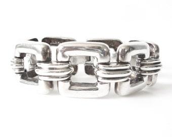 Art Deco Sterling Silver Square Linked Bracelet
