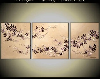 "Original Modern Impasto Painting on Gallery wrapped Canvas 52"" x20"" Home Decor, Wall Art --- Cherry  Blossoms---- by Tomoko---"