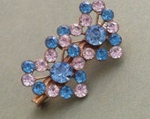 Mid Century Double Hearts Blue Clear Rhinestone Brooch