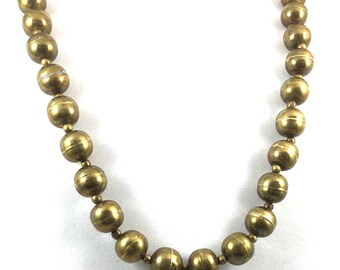 Vintage Bali Hollow Brass Beaded Necklace